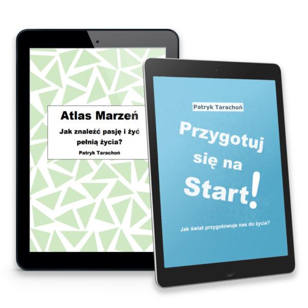 """Zestaw obejmuje dwa e-booki: ,,Przygotuj się na Start + Atlas Marzeń""""!"""