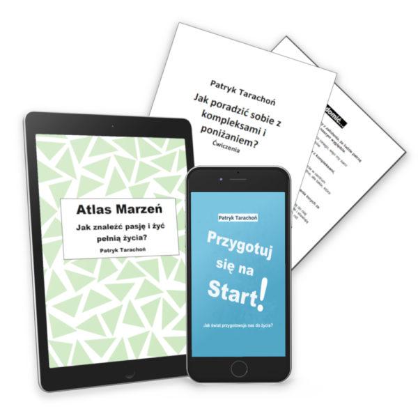 """Zestaw 3 w 1 obejmuje wszystkie e-booki: ,,Przygotuj się na Start + Atlas Marzeń + Jak poradzić sobie z poniżaniem i kompleksami""""!"""